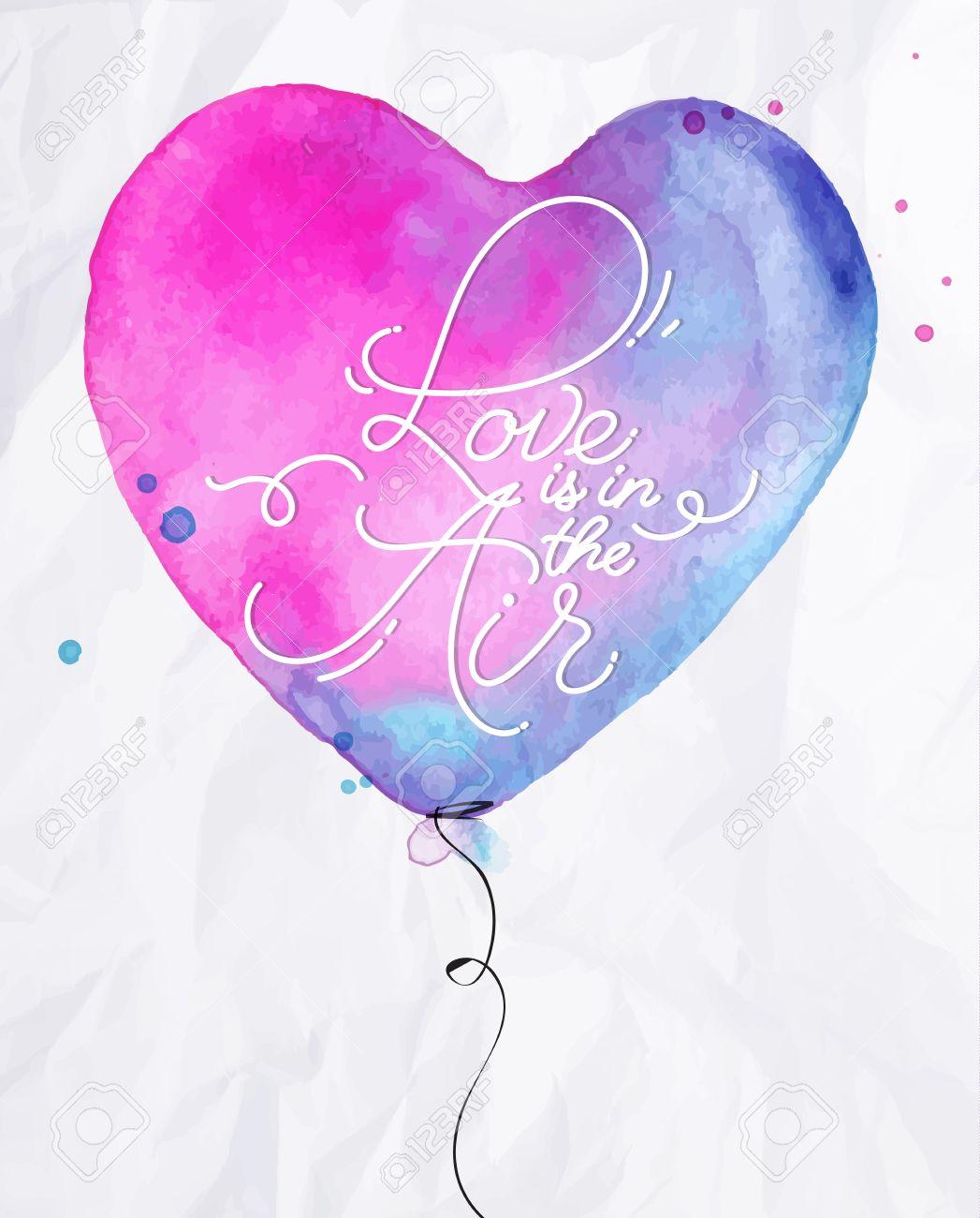 amour aquarelle ballon a air coeur lettrage amour est dans le dessin de l air avec du rose et bleu sur fond de papier froisse