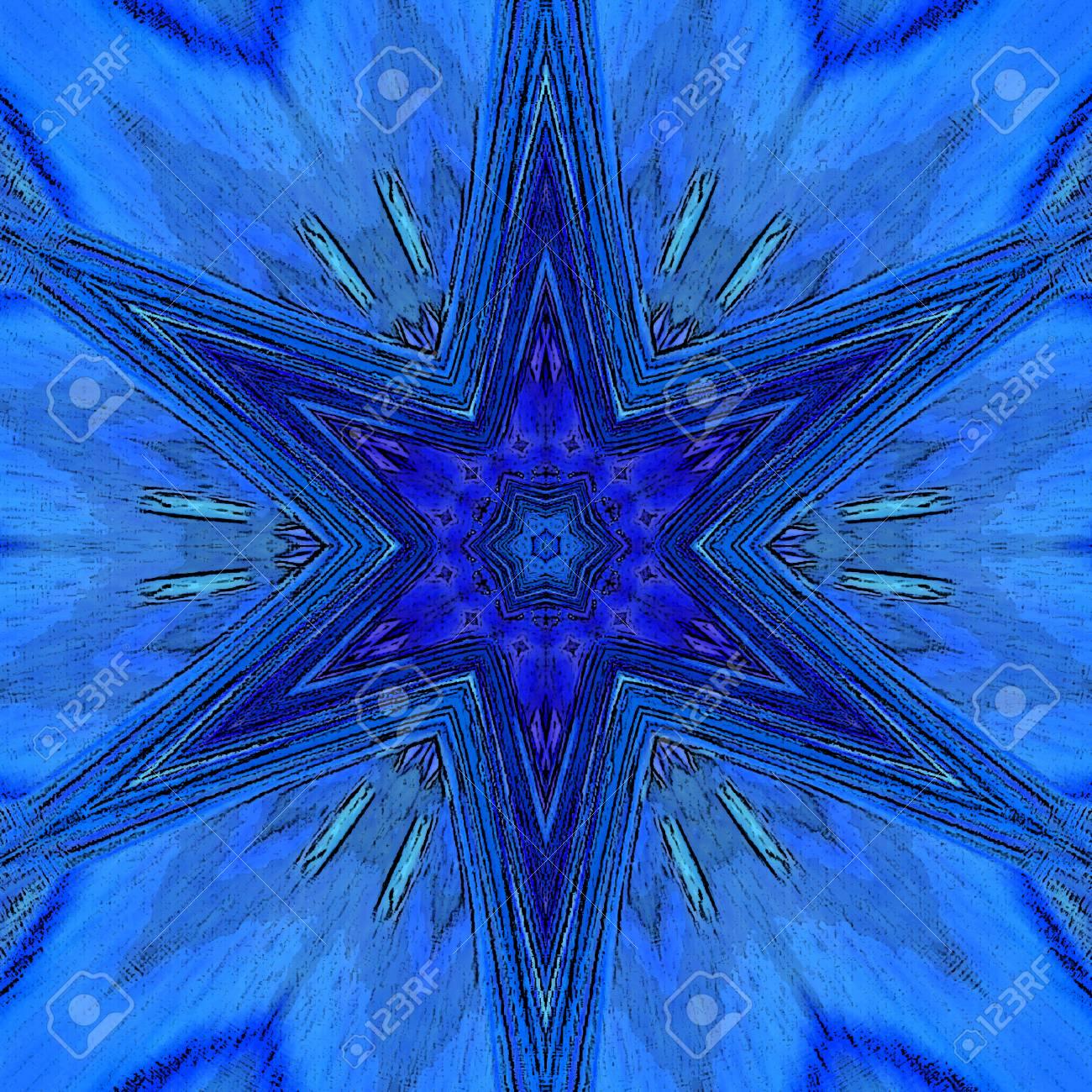 arabesque blue star tile vibrant neon mandala