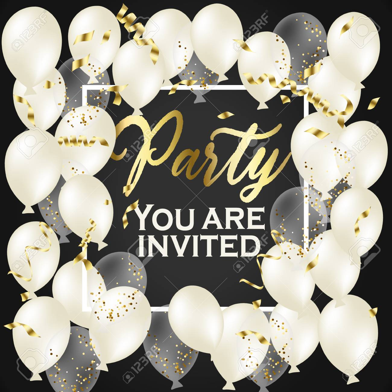 party invitation happy birthday banner gold heart transparent