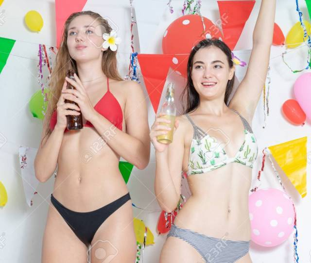 Sexy Hot Girl Wearing Bikini Dancing Party Event New Year Or Birthday Confetti Happy And