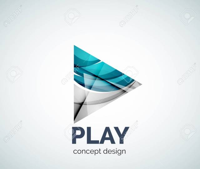 Play Button Business Branding Icon Created With Color Overlapping Elements Glossy Abstract Geometric Style