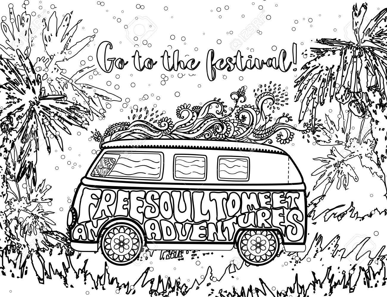 Hippie vintage car a mini van ornamental background love and