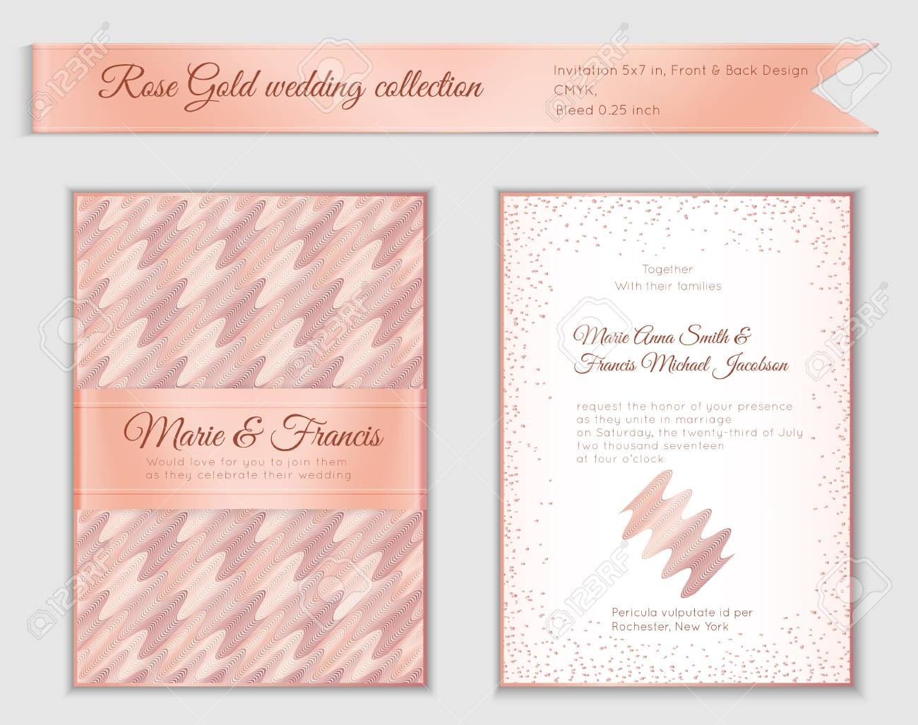 The birth of the newborn baby is extremely exciting, especially for mom. Luxury Wedding Invitation Template With Rose Gold Shiny Realistic Royalty Free Cliparts Vectors And Stock Illustration Image 93508254