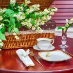 Dinner Set Coffee Mug And Jasmine Flowers On A Background Of Stock Photo Picture And Royalty Free Image Image 46785496