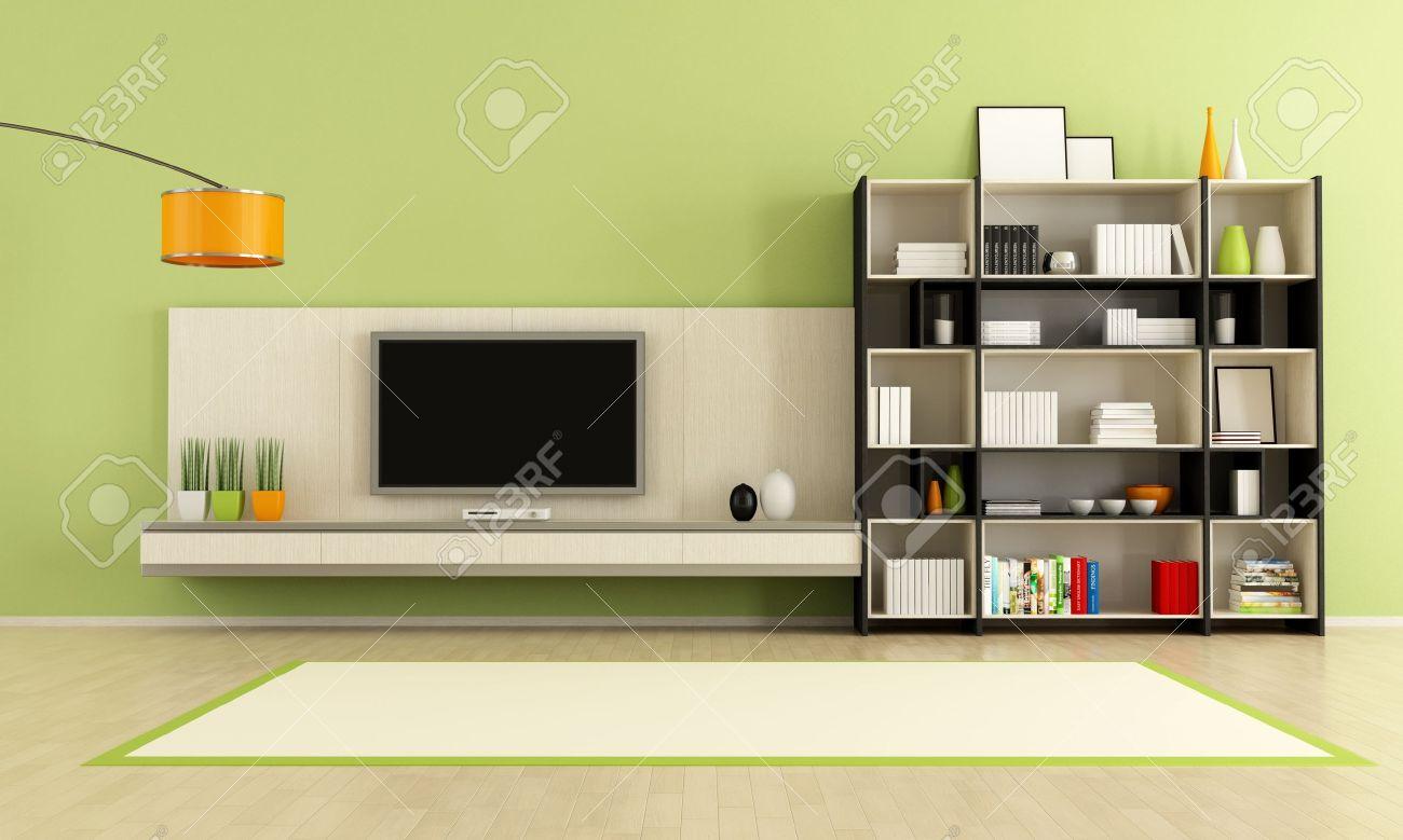 salon vert avec meuble tv et bibliotheque rendu