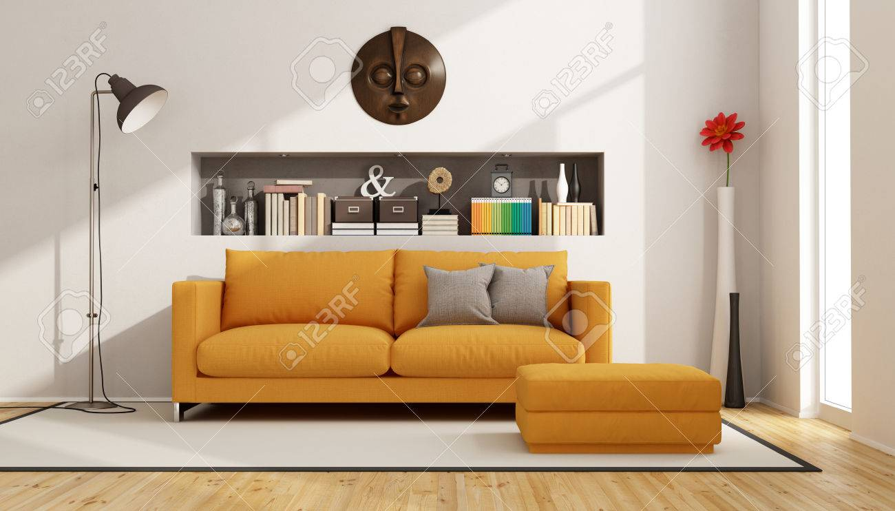 contemporary living room with sofa footstool and niche with