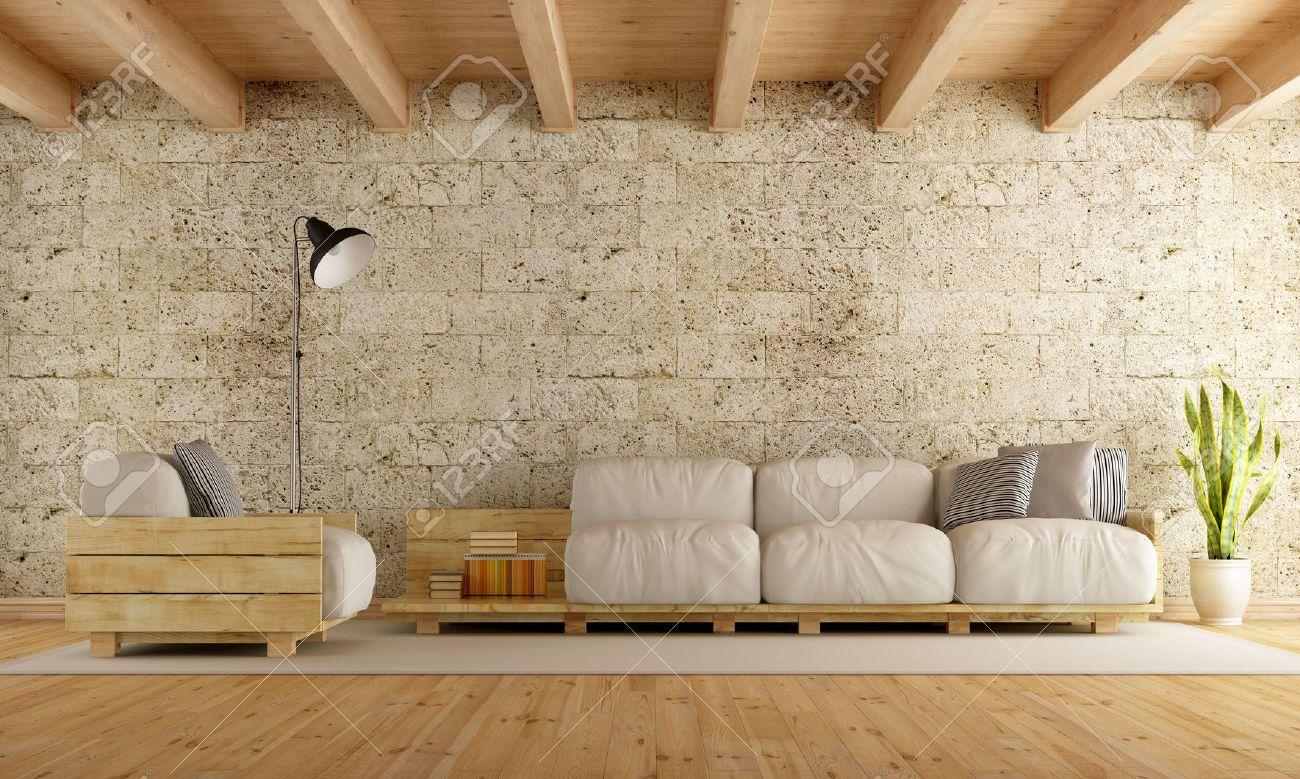 salon moderne avec canape palette mur de pierre et plafond en bois rendu 3d