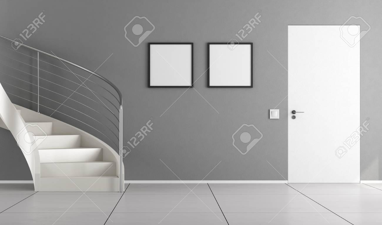interieur de la maison avec escalier blanc mur gris et porte fermee rendu 3d