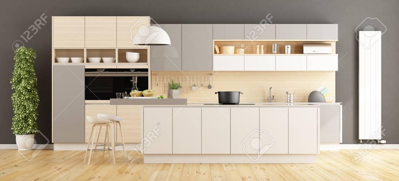cuisine moderne blanche et grise avec ile rendu 3d