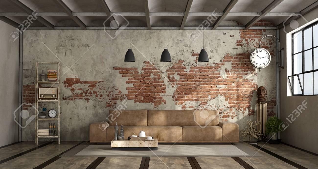 salon dans un style industriel avec canape en cuir et mur de briques rendu 3d