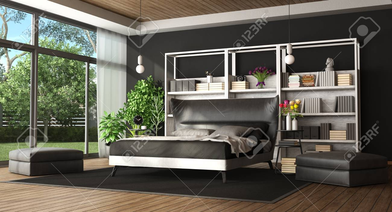 Master Bedroom In A Modern Villa With Black And White Bed Bookcase