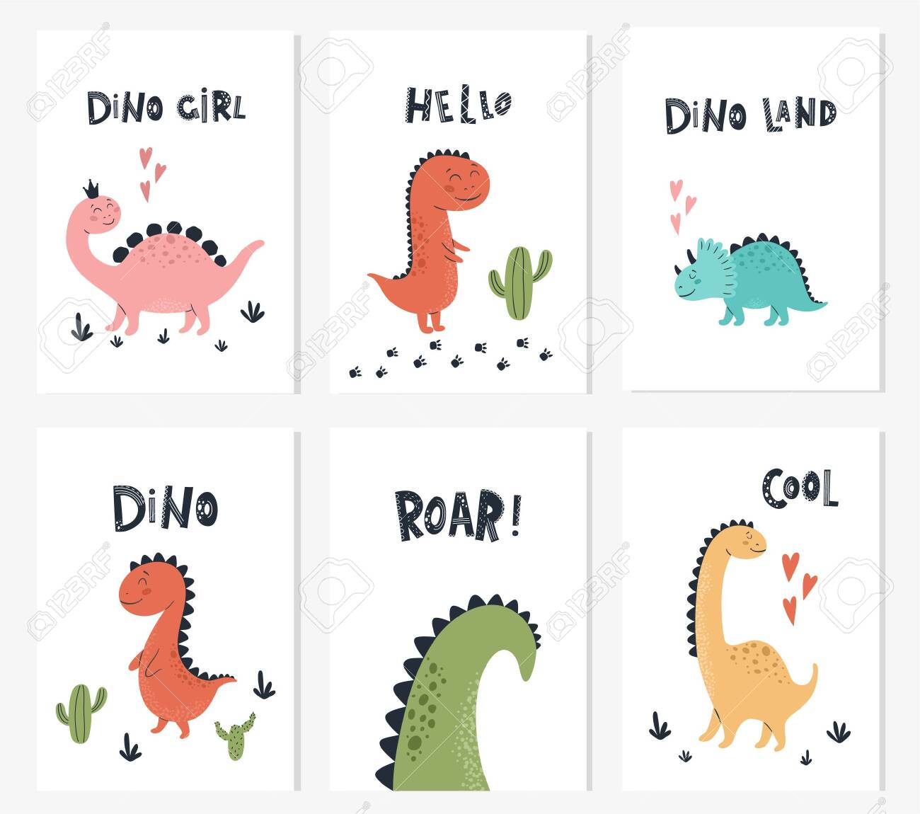 baby print with dino and phrase dino girl roar hello set of