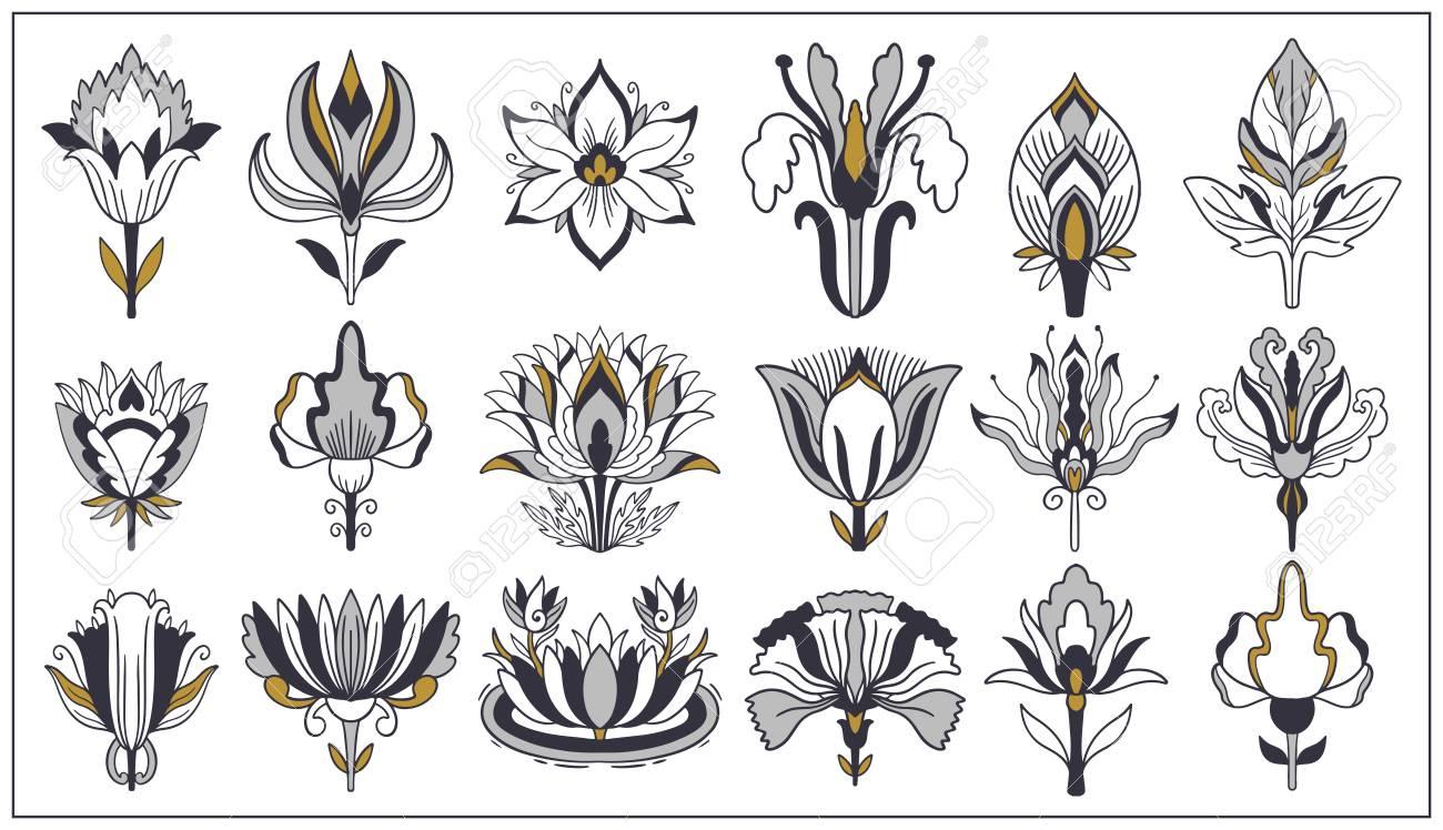 art nouveau and art deco floral ornaments modern flower vintage