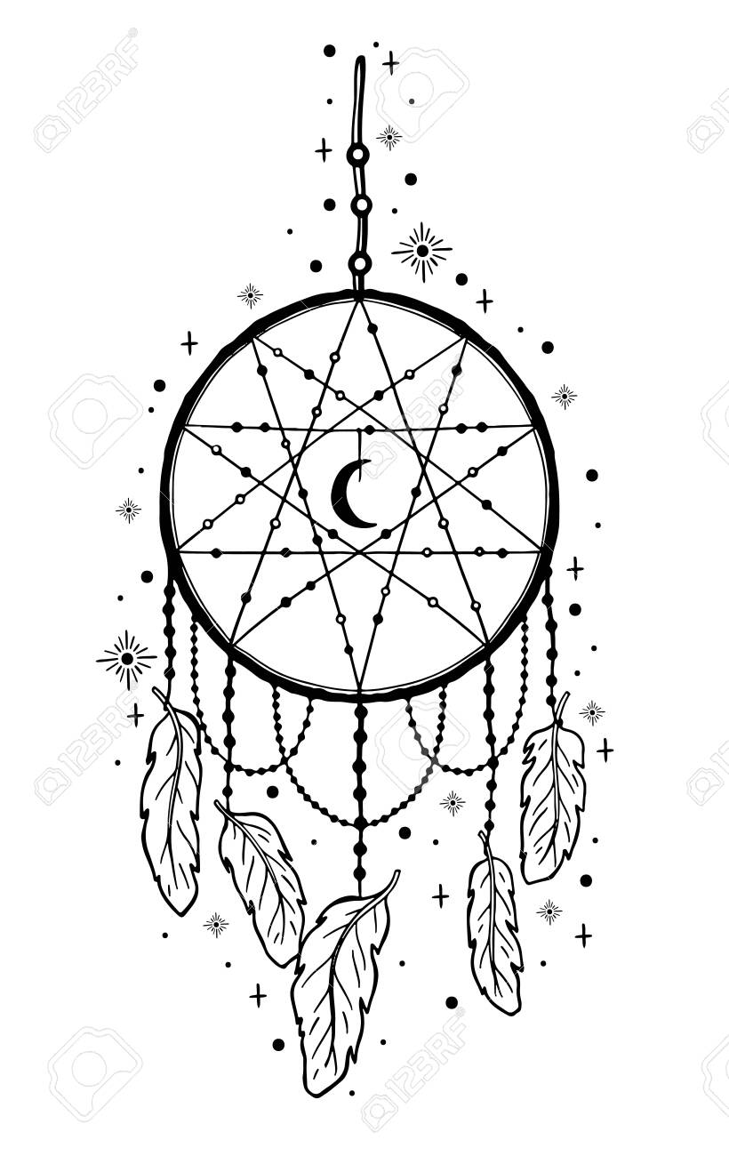 Mystic Dream Catcher Hand Draw Vintage Line Style Boho Ethnic Royalty Free Cliparts Vectors And Stock Illustration Image 138582479