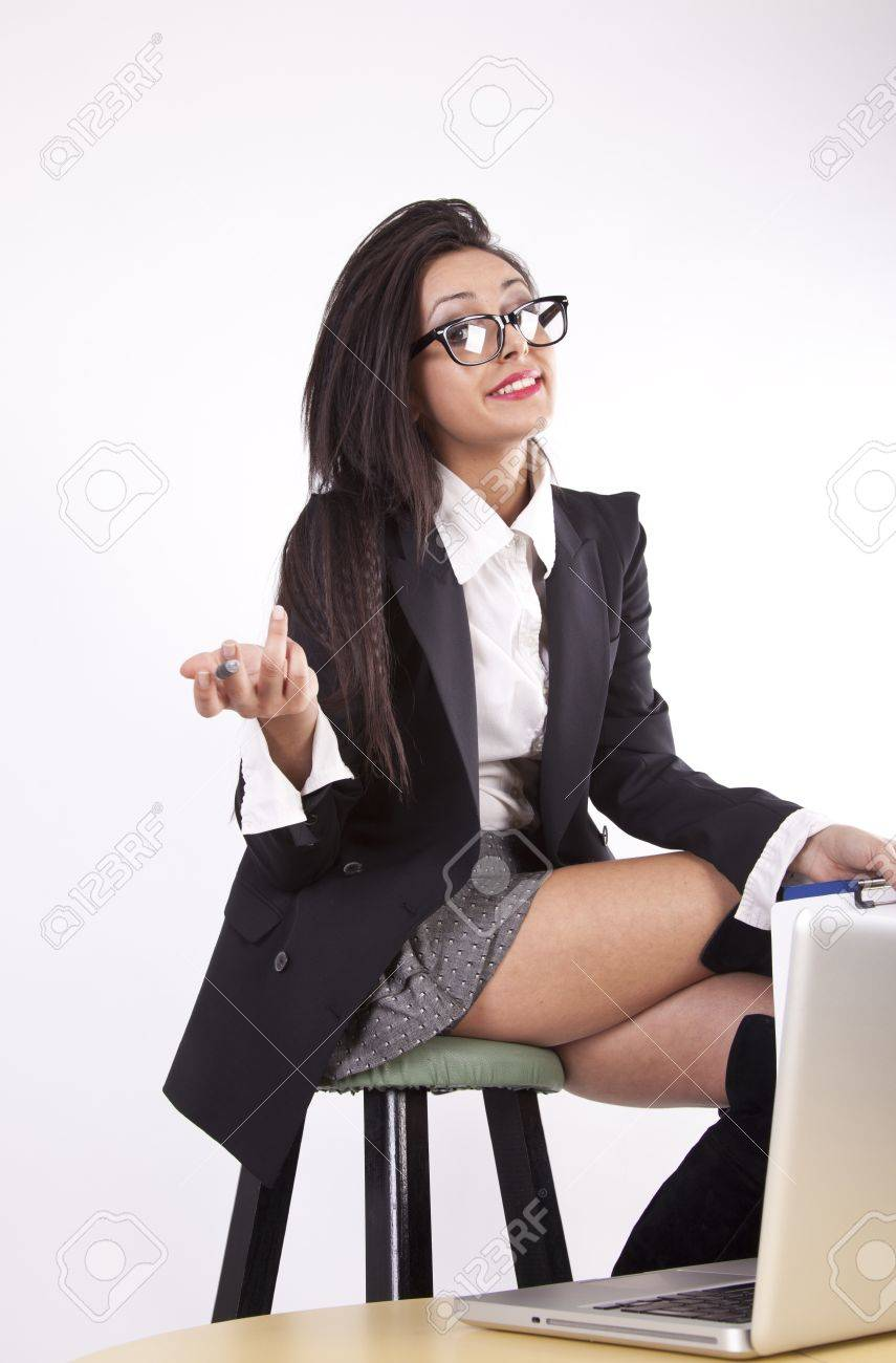Stock Photo Young Attractive Sexy Business Woman With Glasses Smiling