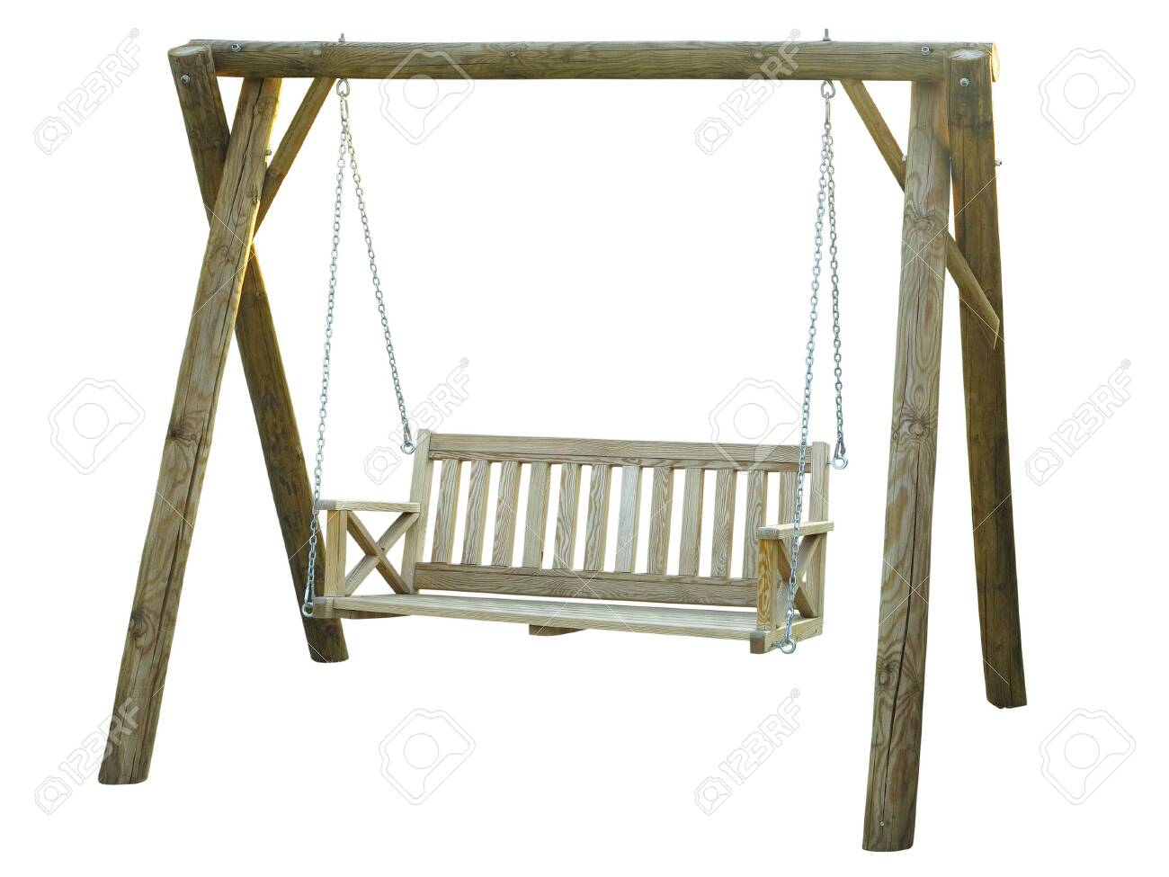 Classic Wooden Outdoor Hanging Swing Bench Furniture Isolated Stock Photo Picture And Royalty Free Image Image 129646281