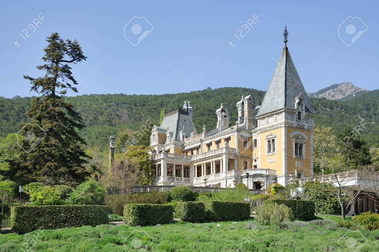 Yalta Crimea Russia Massandra Palace Framed By Trees And
