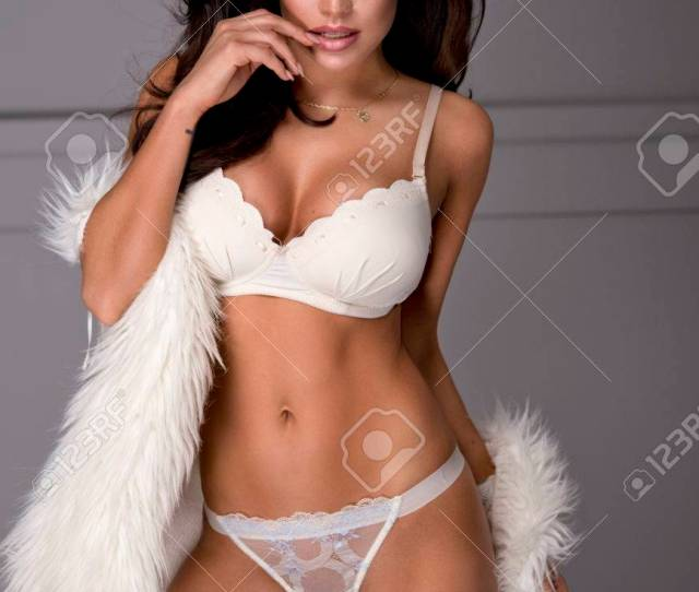 Sexy Brunette Woman Wear Lingerie And Fur Stock Photo 47824154