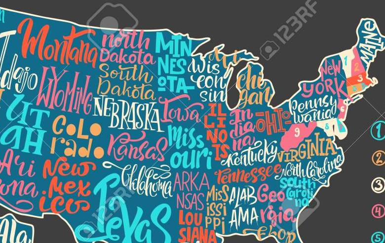 HD Decor Images » Silhouette Of The Map Of USA With Hand written Names Of States     Silhouette of the map of USA with hand written names of states   Texas