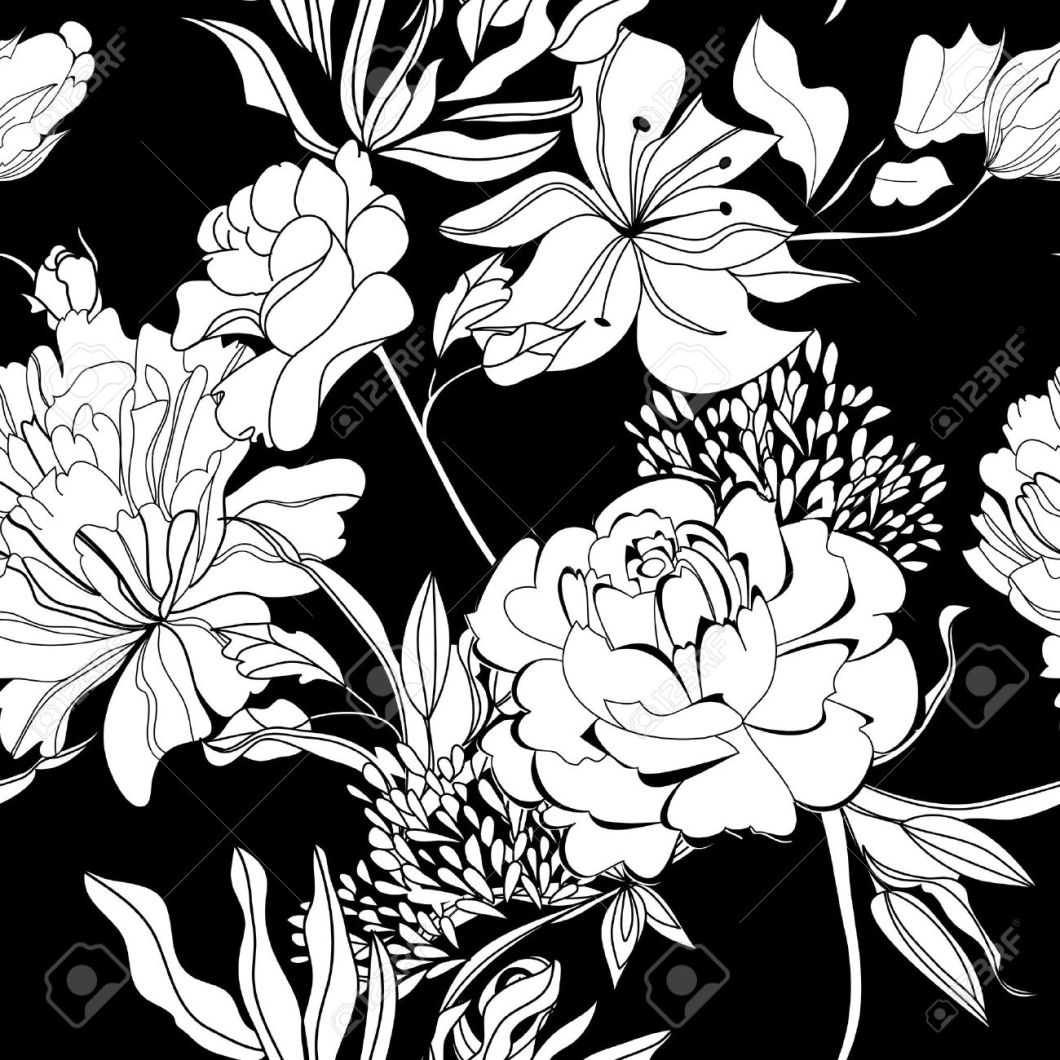 White With Black Flowers Wallpaper Walljdi