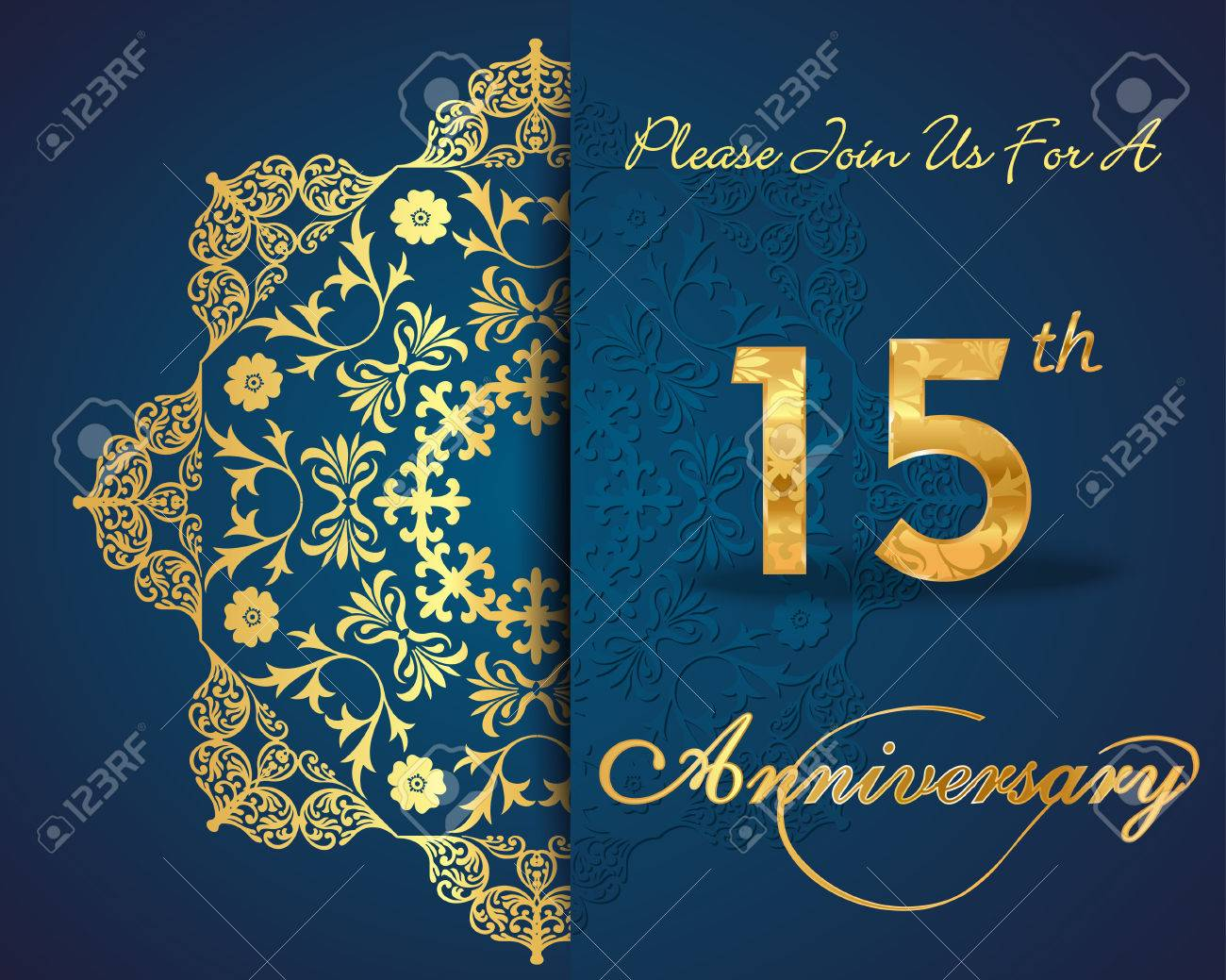 15 year anniversary celebration pattern design 15th anniversary