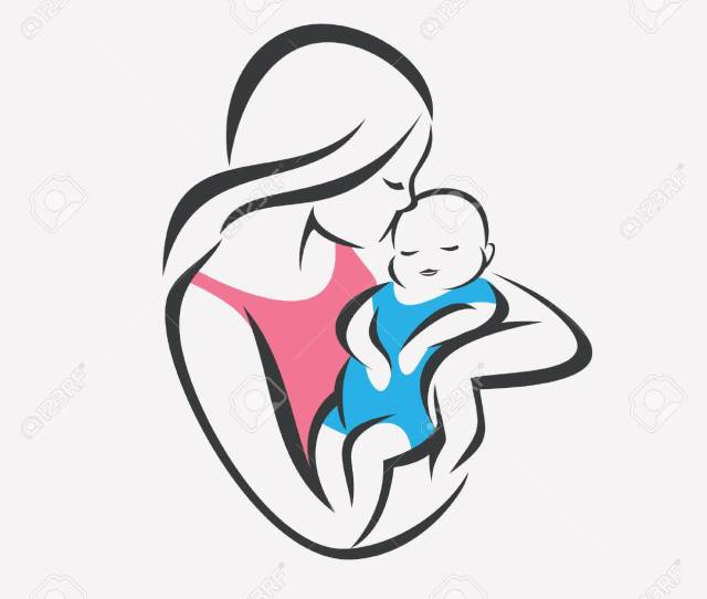 Mother And Baby Stylized Vector Symbol Mom Kiss Her Child Logo Template Stock Vector
