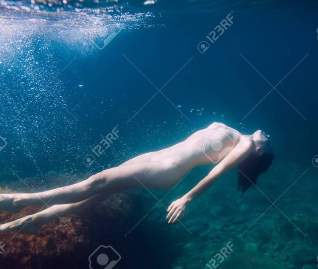 Nude Girl Is Underwater Young Woman Naked Body In Sea Stock