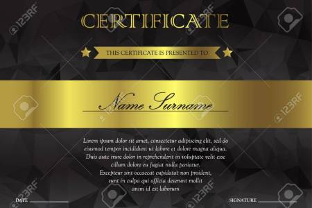 Horizontal Black Dark And Gold Certificate And Diploma Template     Horizontal black dark and gold certificate and diploma template with  vintage  floral  filigree and