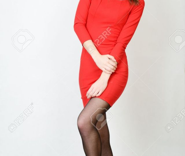 Slim Female Model Kind Girl With Smiling Face Model Wearing Red Dress And Black