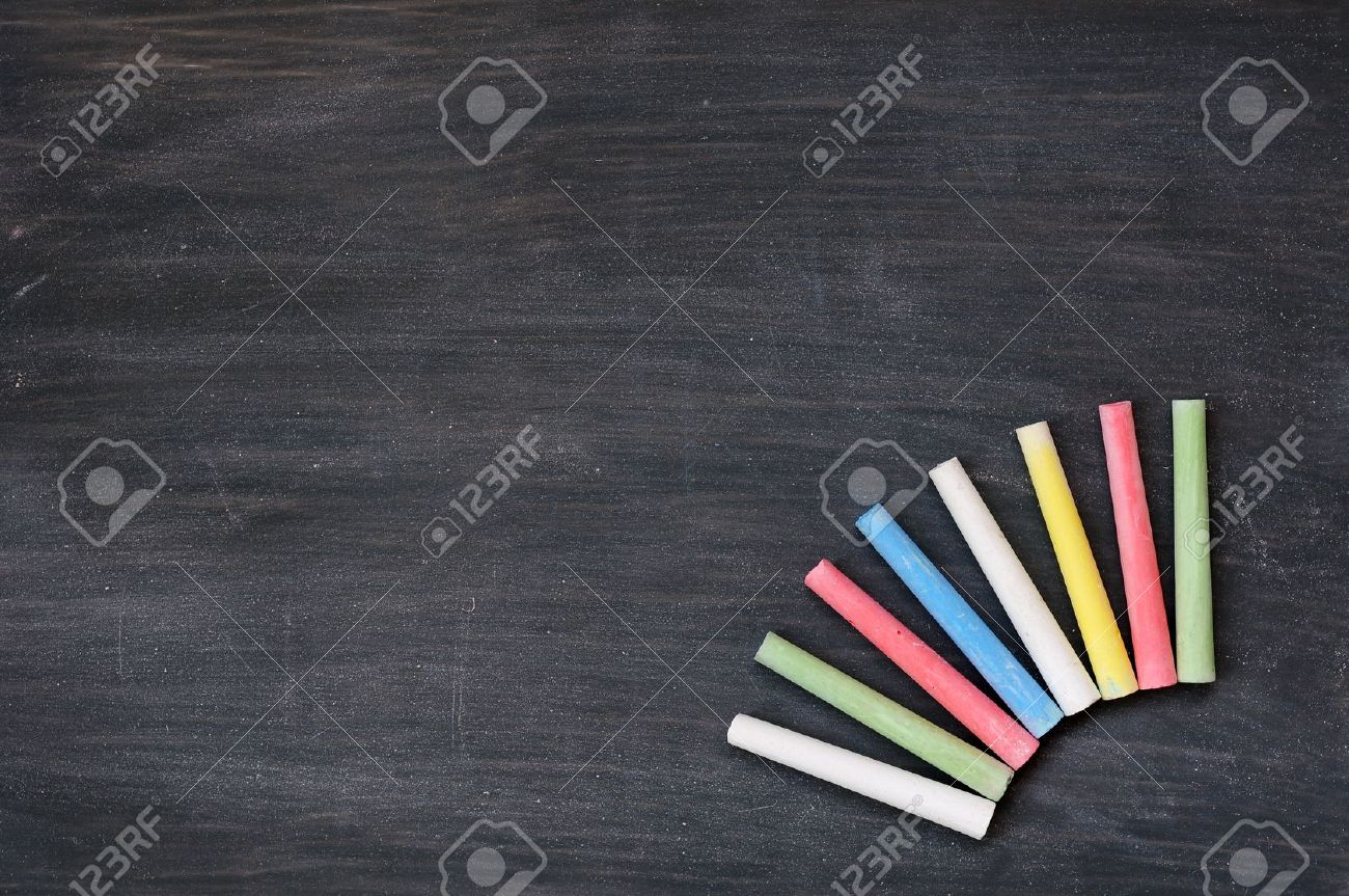 Image result for multi coloured chalks and blackboard