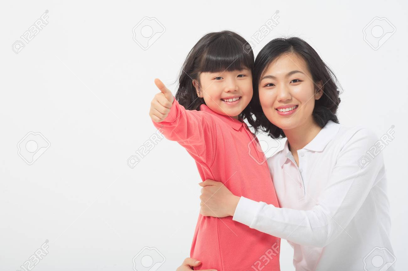 Asian Mom And Child Isolated On White Stock Photo 80776052