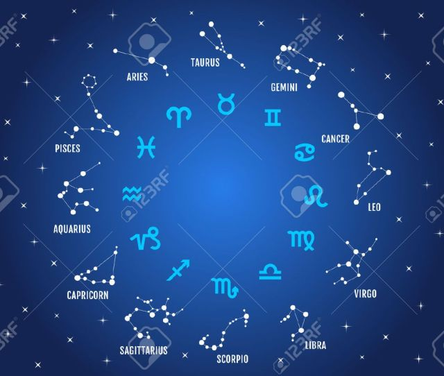 Vector Zodiac Signs Horoscope Symbols Stars In Blue Sky Vector Icon Set