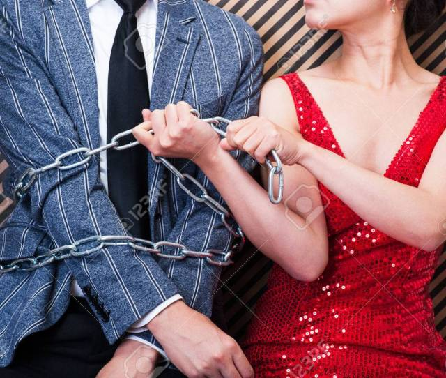 Stock Photo Woman Bound Men With Chain