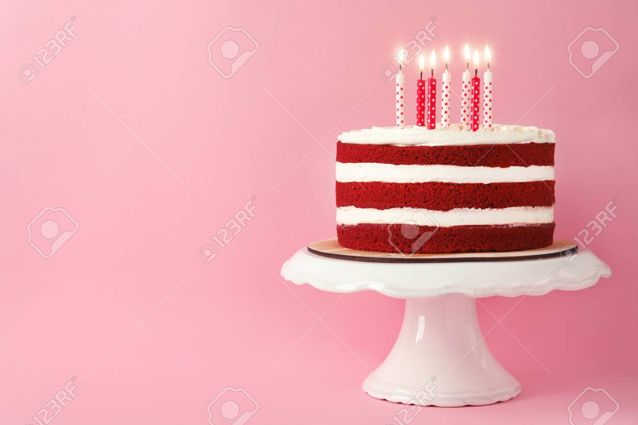Delicious Homemade Red Velvet Cake With Candles On Pink Background Stock Photo Picture And Royalty Free Image Image 108559091