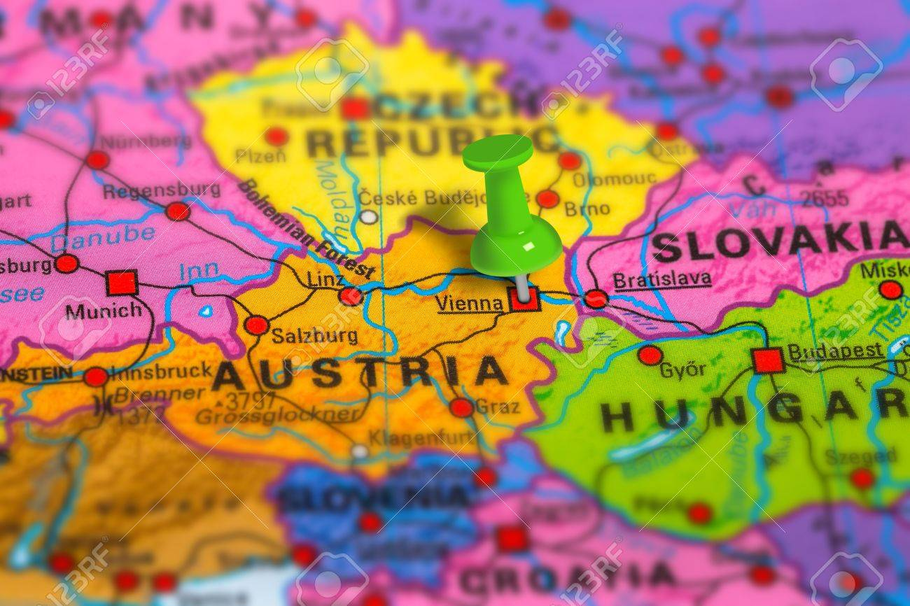 Vienna In Austria Pinned On Colorful Political Map Of Europe     Stock Photo   Vienna in Austria pinned on colorful political map of Europe   Geopolitical school atlas  Tilt shift effect