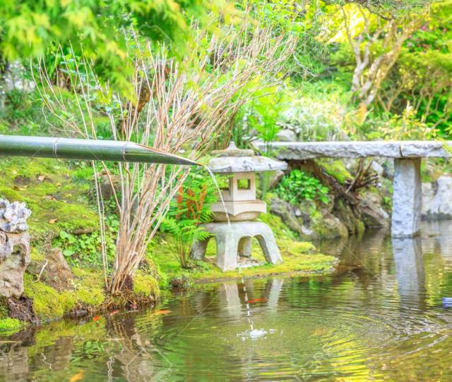 Japanese Culture Concept Close Up Of Traditional Japanese Bamboo Fountain In Take Dera Or