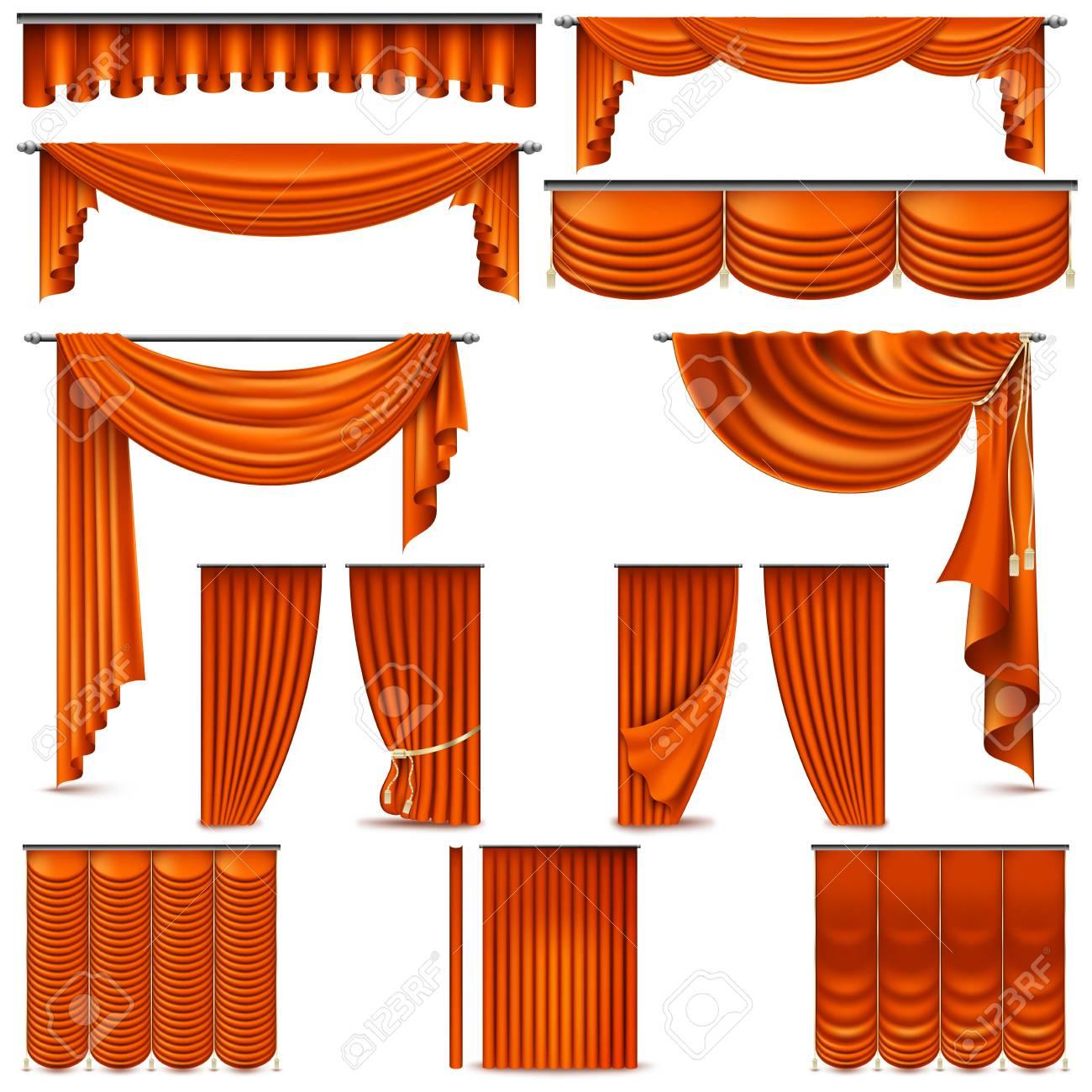 objet de decoration d interieur de rideaux et tentures isole sur blanc pour la scene de theatre
