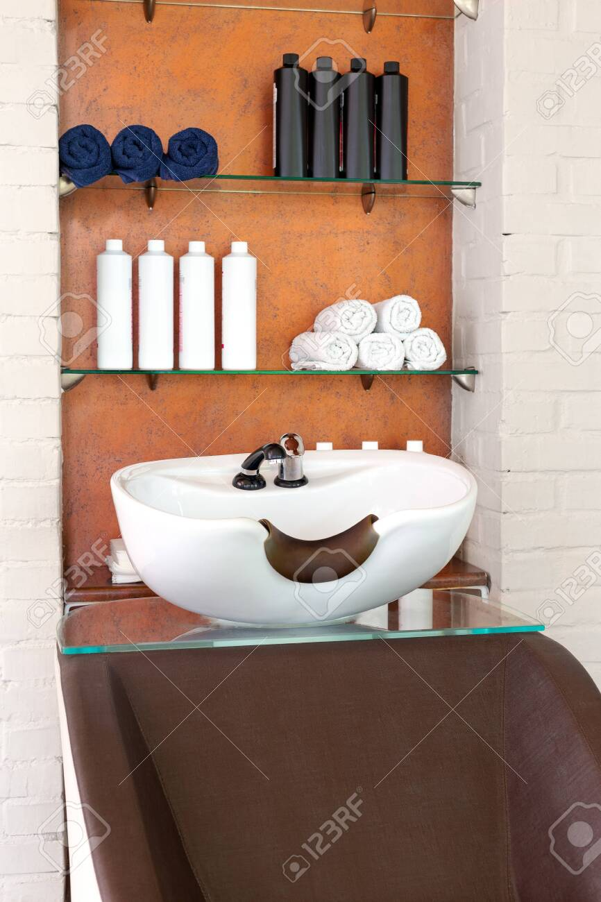 beauty salon interior wash sink for washing hair hair care spa stock photo picture and royalty free image image 147637335