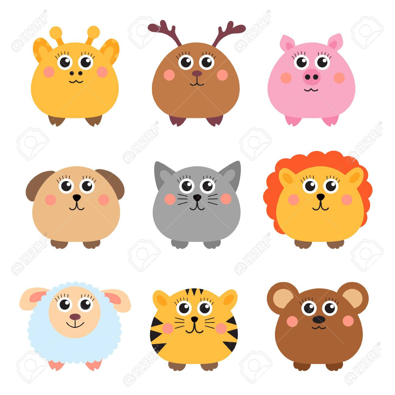 Image of: Funny Videos Set Of Cute Animals Rounded Shape Round Animals Vector Illustration Stock Vector 58898814 123rfcom Set Of Cute Animals Rounded Shape Round Animals Vector