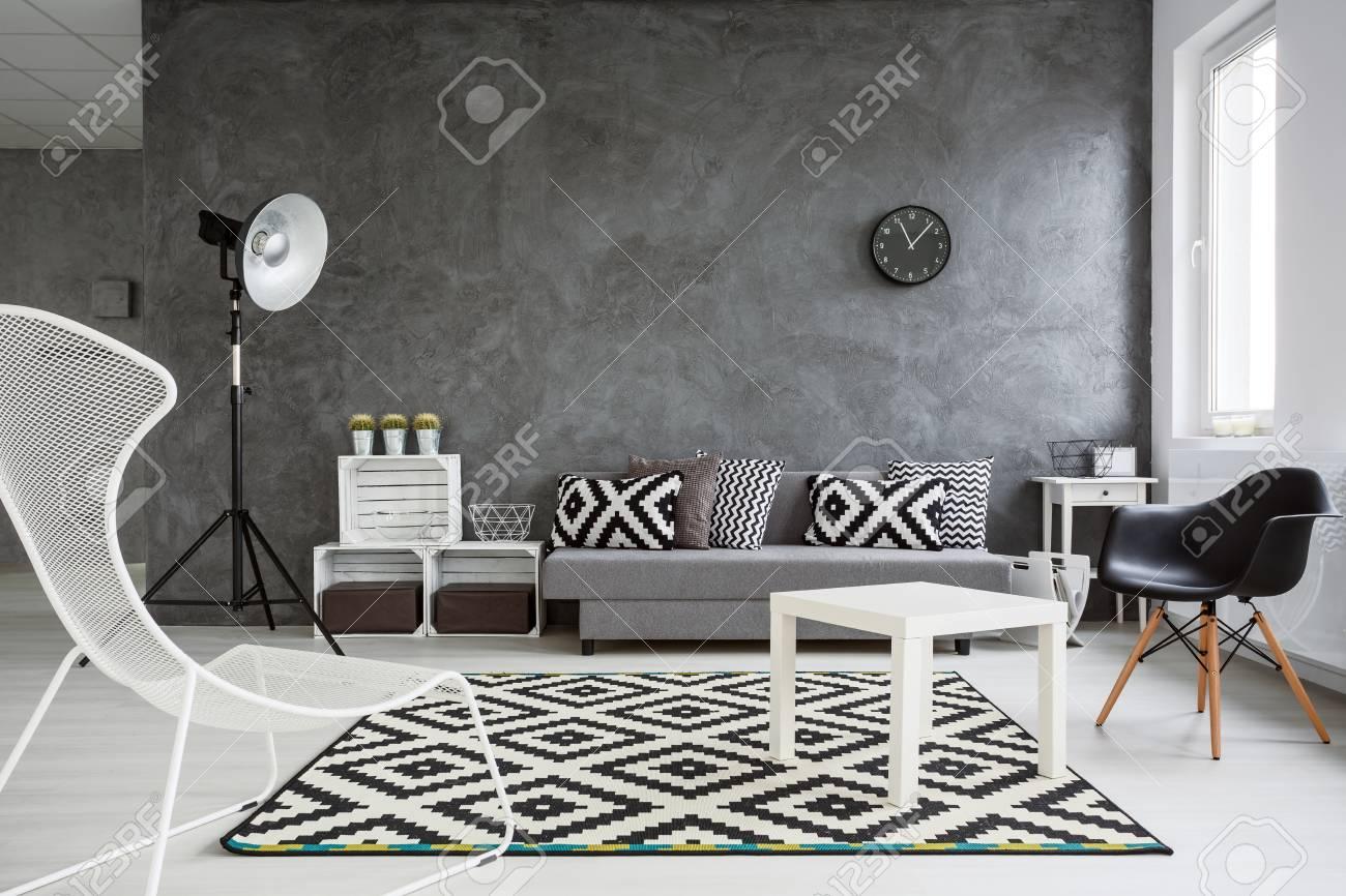 spacieux salon decore avec style murs gris sol en bois blanc et decorations blanches et noires