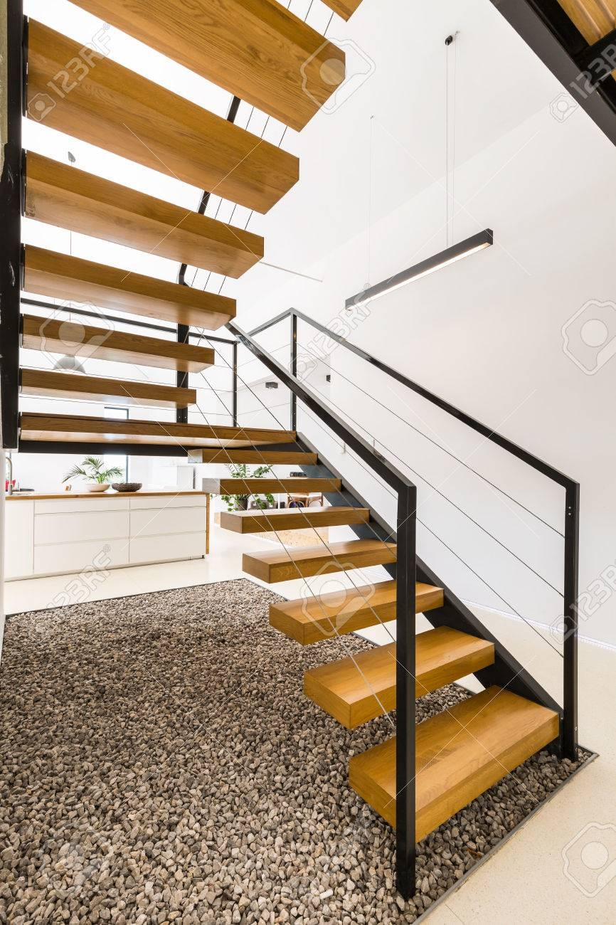 Light House Interior With Modern Wooden Staircase With Simple | Modern Wood Stair Railing | Creative Outdoor Stair | Traditional | Indoor | Balustrade | Cherry Wood
