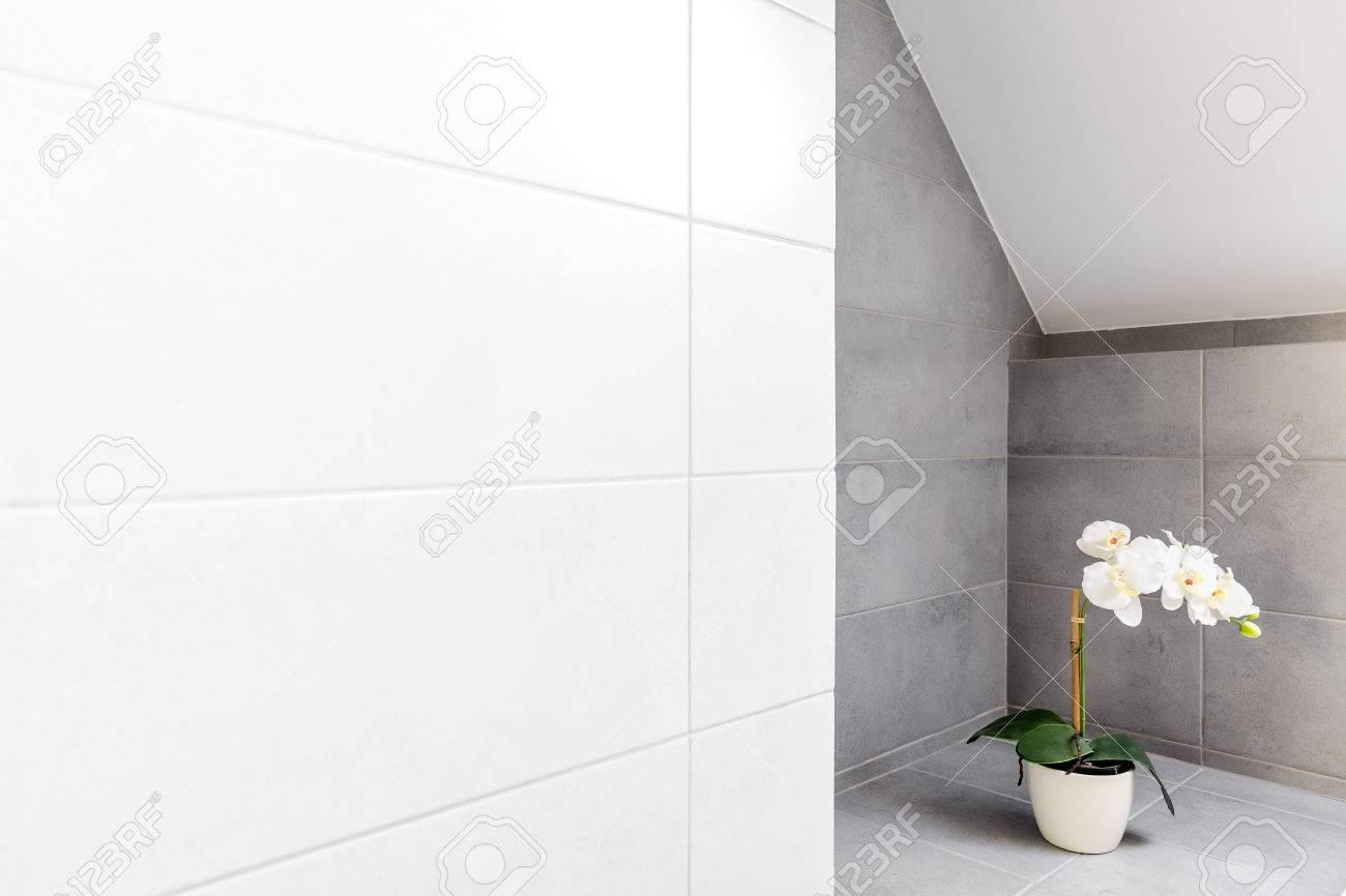 salle de bain avec carrelage mural gris et blanc et orchidee decorative banque d images et photos libres de droits image 76345890