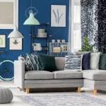 Navy Blue Living Room Design With Gray Corner Sofa Decorative
