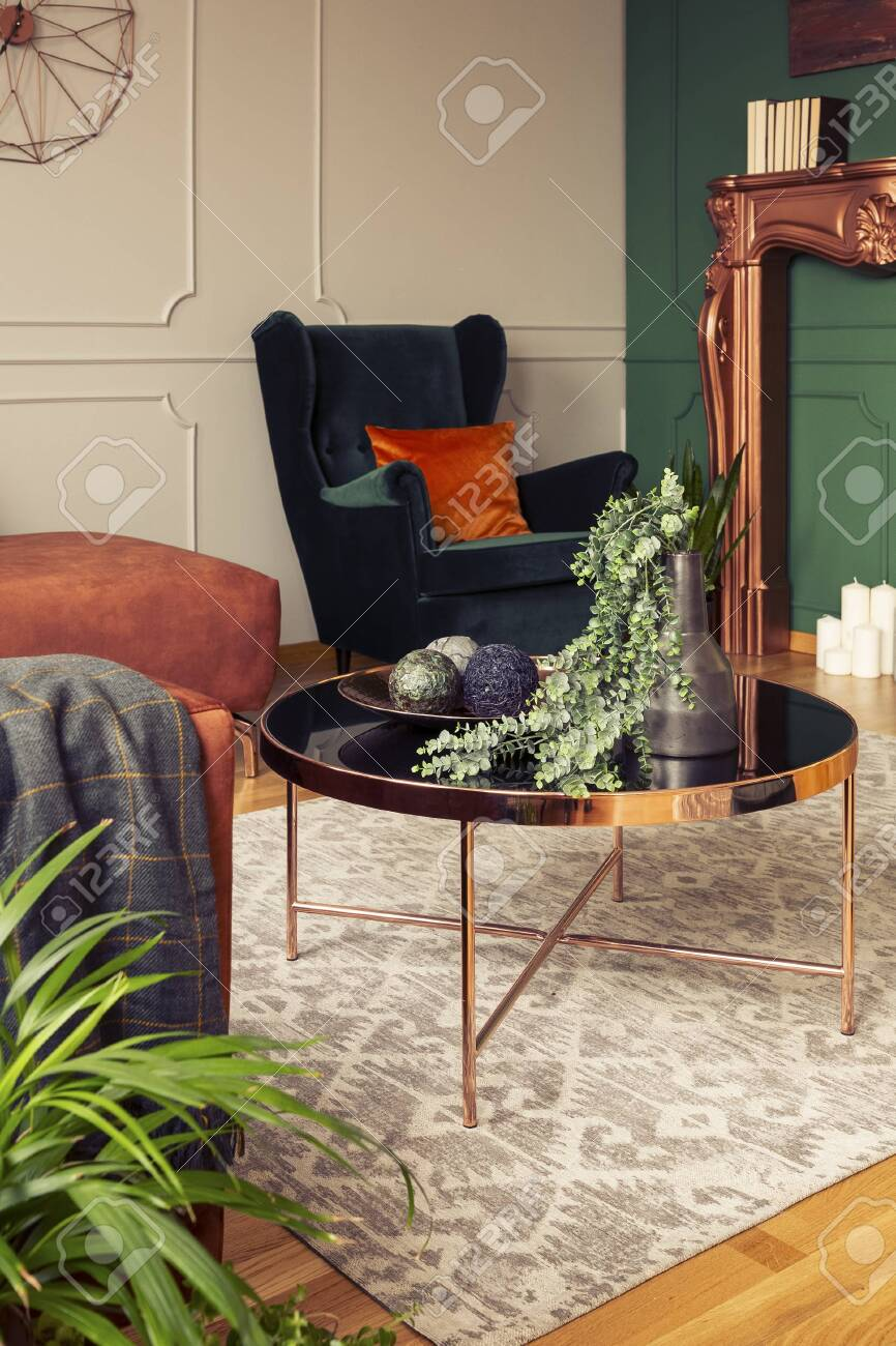 Emerald Green Wing Back Chair With Orange Pillow In Luxury Living Stock Photo Picture And Royalty Free Image Image 134331203