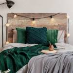 Emerald Green Pillows And Blanket On Wooden King Size Bed With Stock Photo Picture And Royalty Free Image Image 139030672