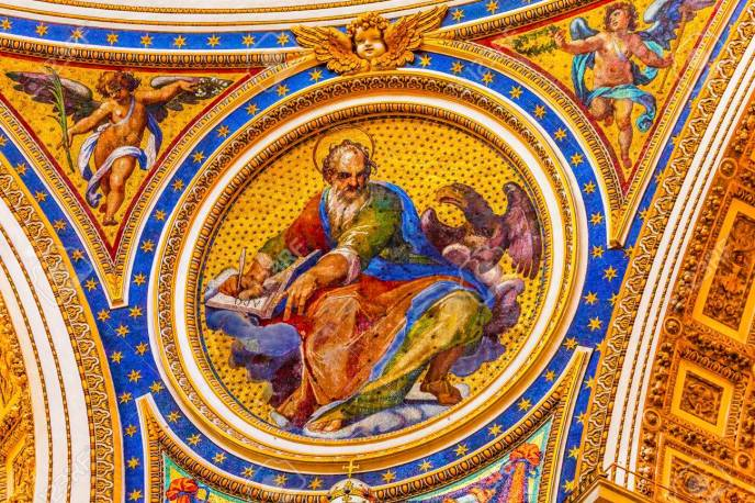 Saint Mark Eagle Gospel Writer Evangelist Mosaic Angels Saint Peter's Basilica Vatican Rome Italy.  Mosaic right below Michaelangelo's Dome, Created in 1600s over altar and St. Peter's tomb Stock Photo - 83577889