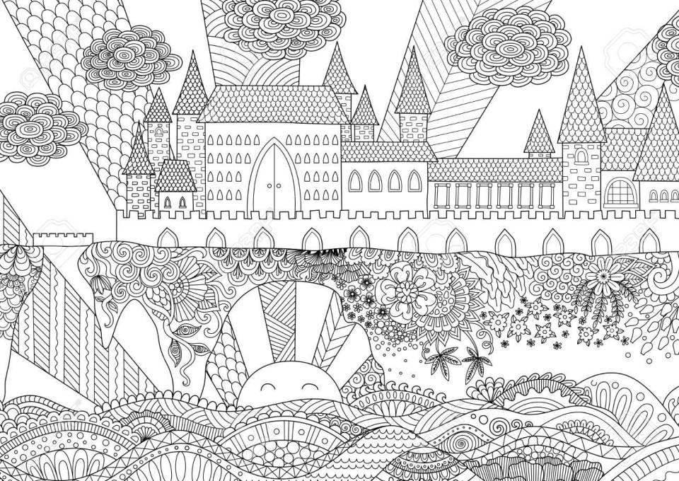 背景、大人のぬりえデザイン要素に zendoodle 城の風景です。在庫が