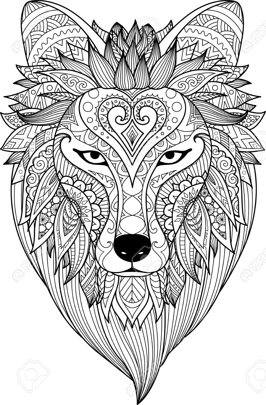 Zendoodle Stylize Of Dire Wolf Face For Adult Coloring Book Page