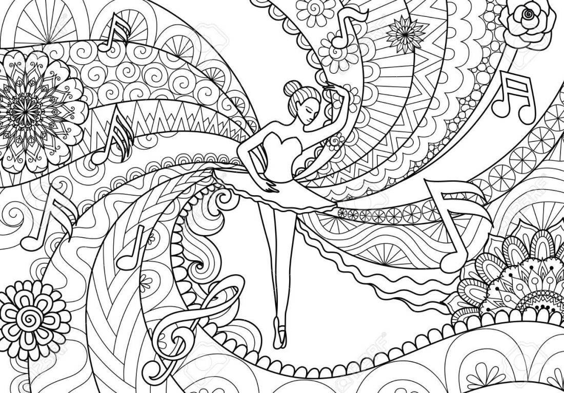 zendoodle design of ballet dancer for adult coloring book pages