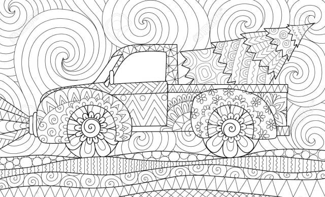Line Art Design Of Pickup Truck With Christmas Tree For Adult